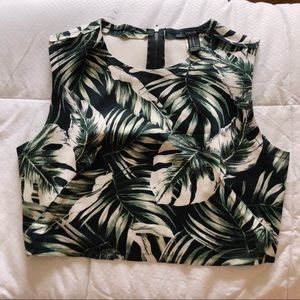 Tropical Cropped-top with a zipper back